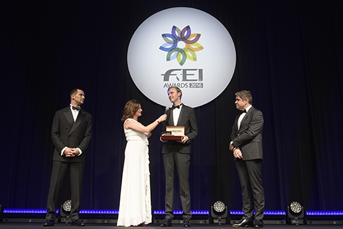 Sonke Rothenberger accepting his award and Longines watch at the FEI Awards 2016 ceremony in Tokyo