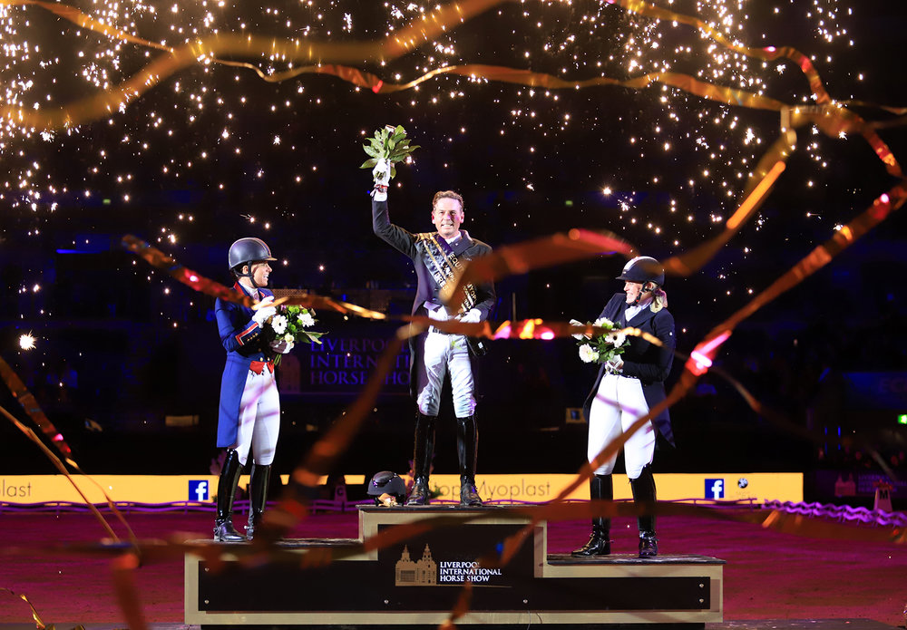 Carl Hester triumphed in the  Inter I freestyle to music class.