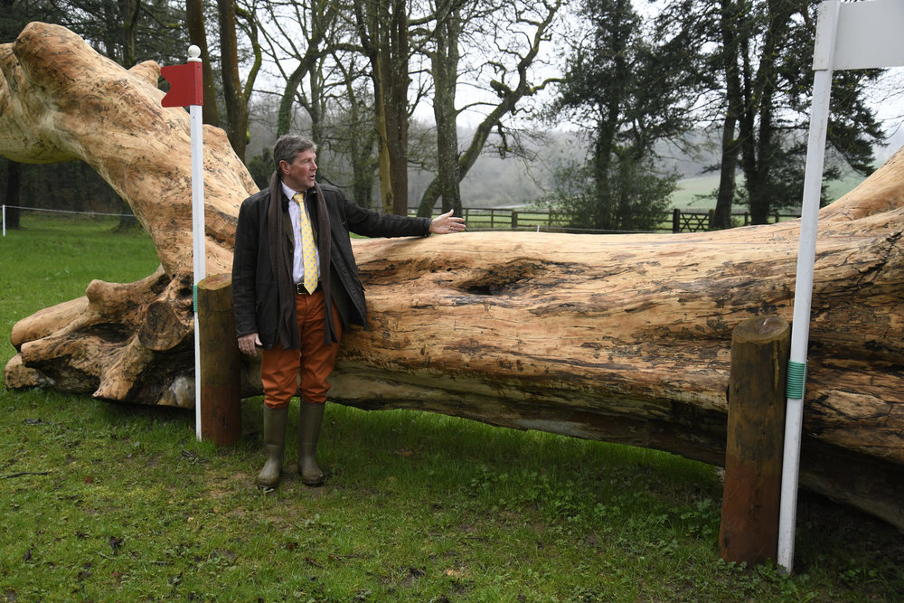 Course-designer Eric Winter demonstrates the size of the logs in Huntsmans Close