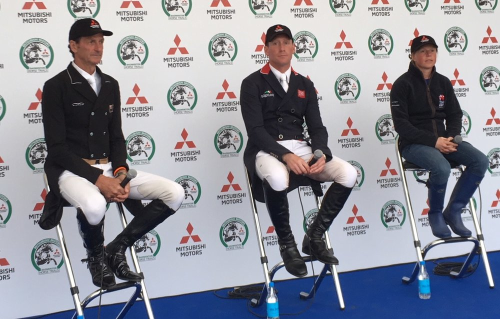 Dressage top three: Oliver Townsend (centre), Mark Todd and Ros Canter