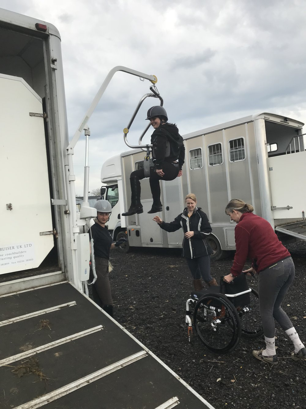 This was the first time Sallyanne had used the hoist away from home
