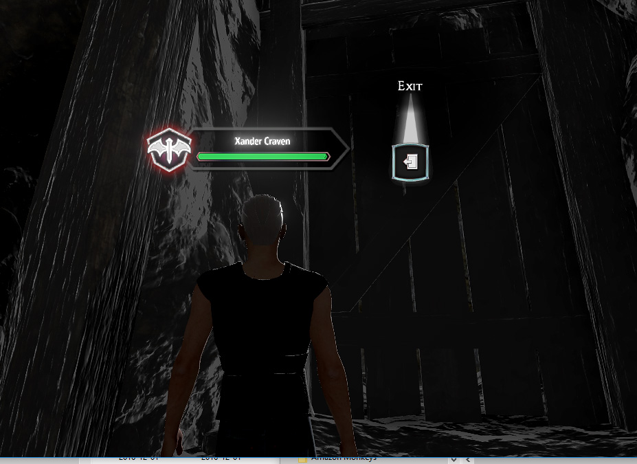 In the cave, click on the big wooden door.