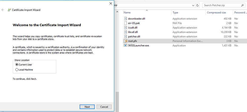 This brings up the Certificate Import Wizard