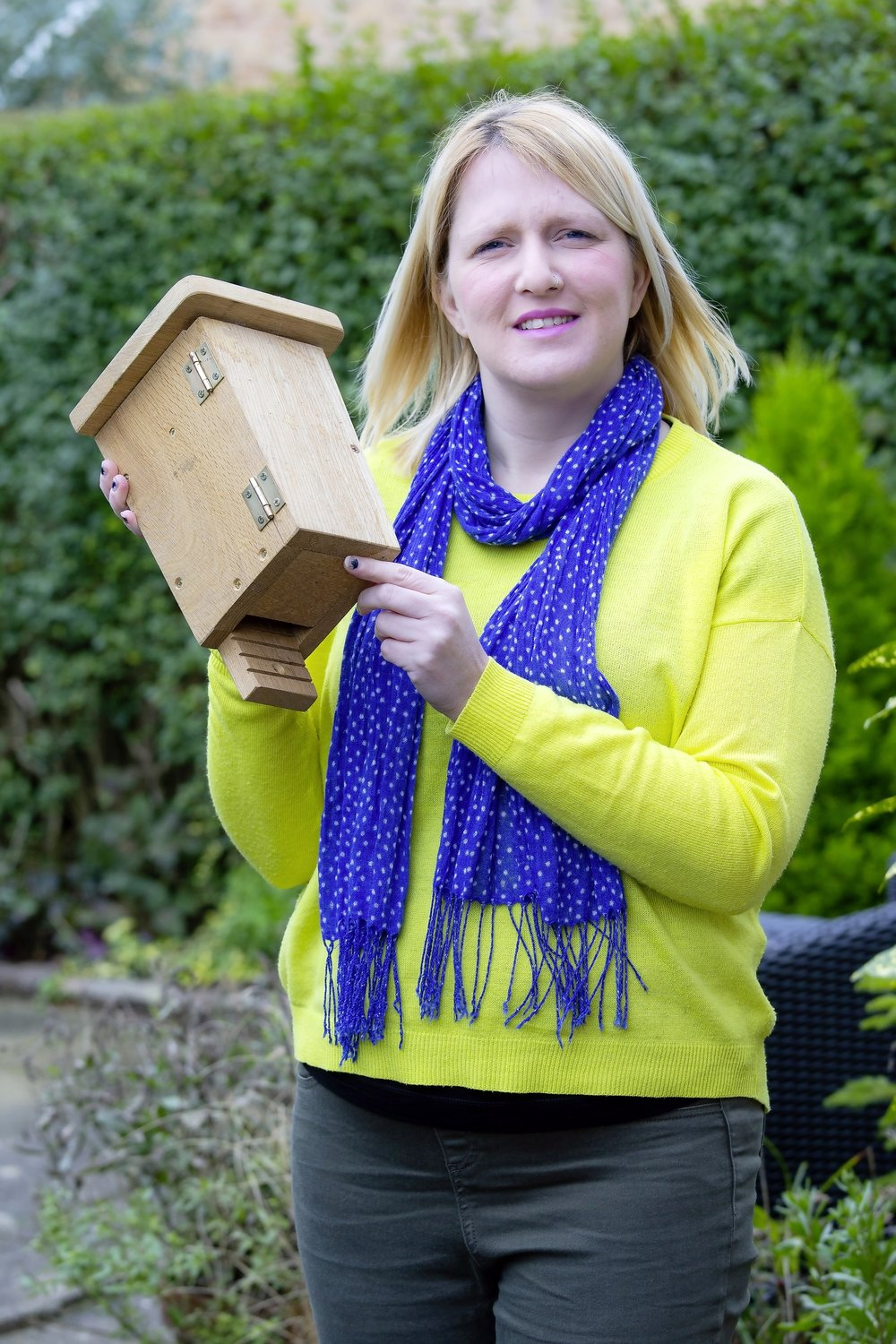 Karen says, 'I'll put my bat box high in a sunny spot, where they'll climb through the bottom and roost or nest.'