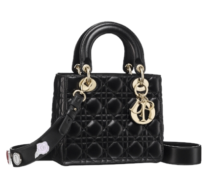 Small Lady Dior bag in black cannage lambskin, customizable strap with Lucky Pins.jpg