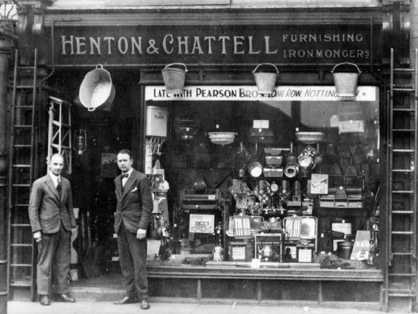 Mssrs Henton and Chattell outside their shop