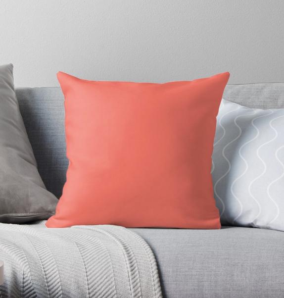 Pantone coral cushion £17 Redbubble.com