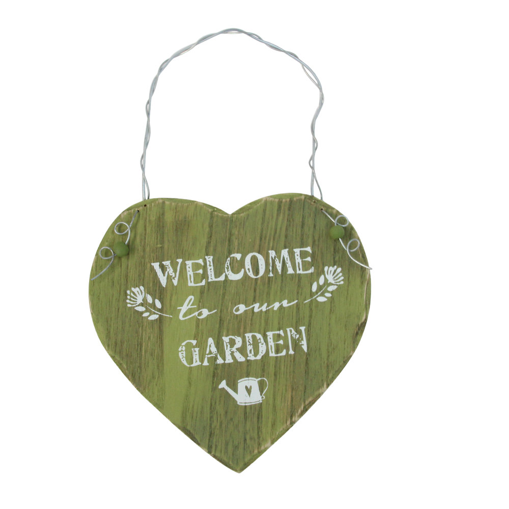 Green Wood 'Welcome To Our Garden' Heart