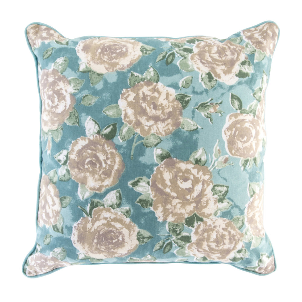 Polly floral cushion in duck egg