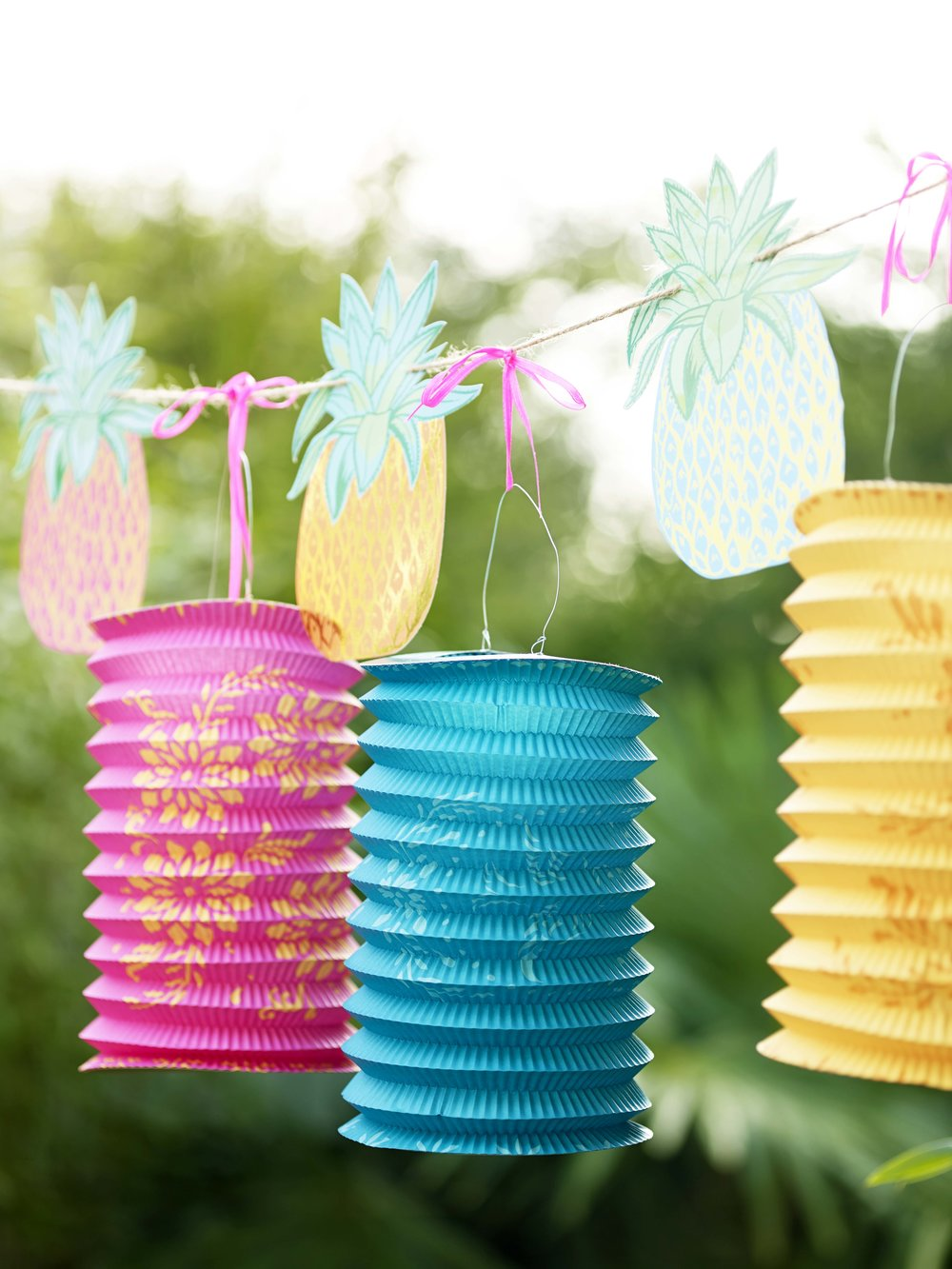 Boho paper lanterns and pineapple bunting