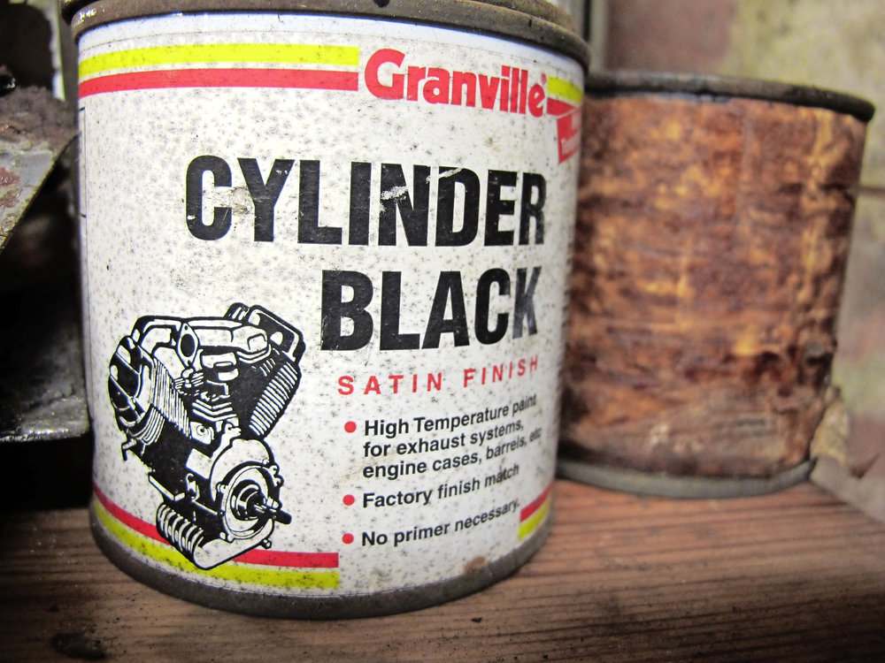 Granville still supply brush-onheat-dispersant paint like this - Ken Bowler emailed to say, as regards cylinder painting, he's had a lot of success with Hammerite Bike Pot Black, which seems to stick well, claims to cope with 450°C and still works – even though his tin is dated 1998. Ah, there's the problem, Ken – Pot Black is unfortunately no more. The closest brushon product I know of is Granville Cylinder Black, which is hopefully as good and, like Pot Black, can be thinned with spirit for spray gun use, giving a more even coat and better penetration between deep fins.