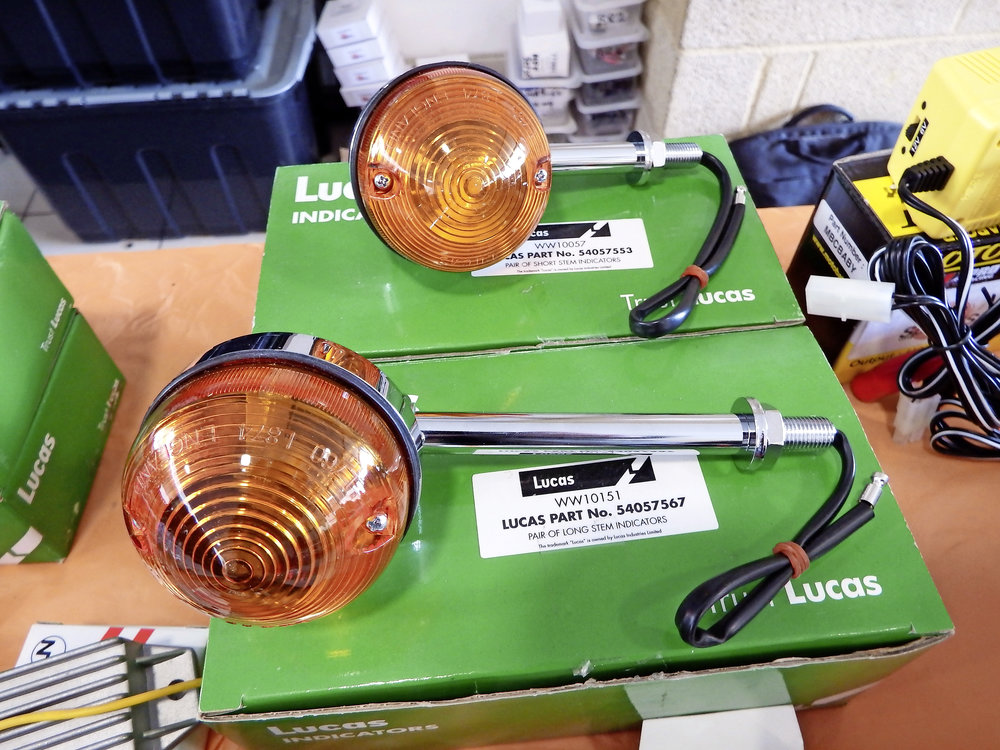 Reproduction Lucas parts getthe thumbs-up from experts - You've probably seen the range of Lucas branded parts that are available now. Rex's Speedshop are stockists and I was discussing them with Marcus Rex the other day. He tells me that, far from being just an old trademark on inferior products, Lucas themselves have carefully monitored the reproduction range, which is mostly Taiwanese-made (like OE Japanese bike electrics) and high quality. Ferret backed this up, so that's good news.
