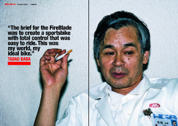 Tadao Baba, the creator of the Fireblade