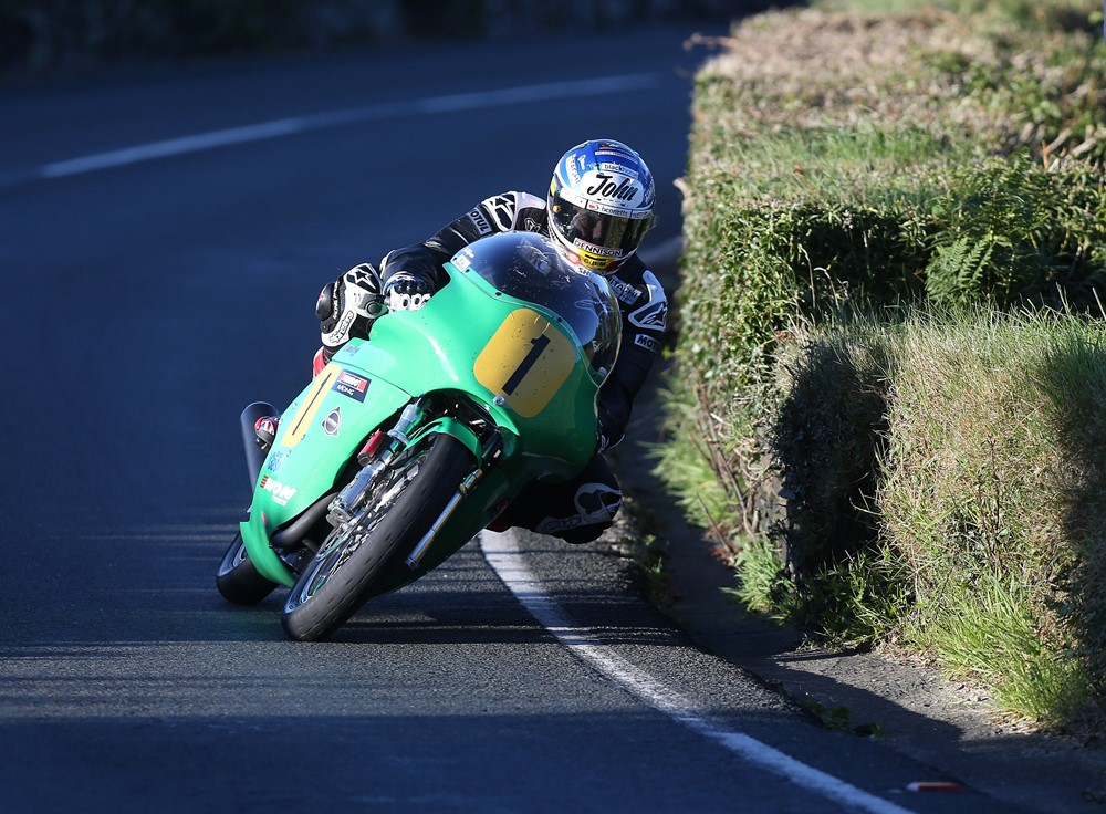 John McGuinness puts the air-cooled Paton through it's paces at the Classic TT