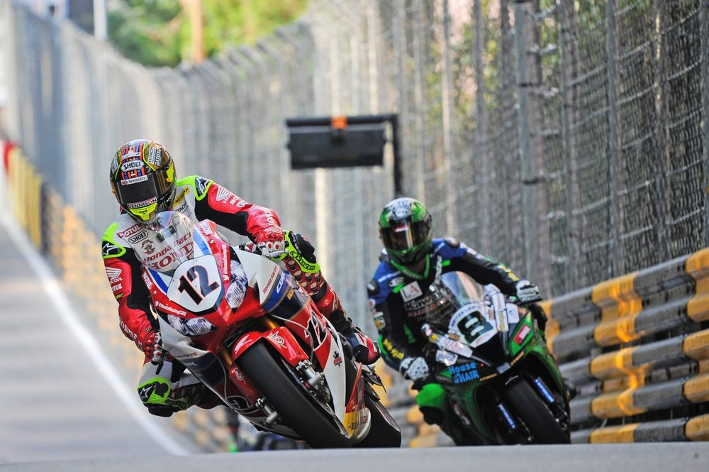 John McGuinness races at the Macau GP