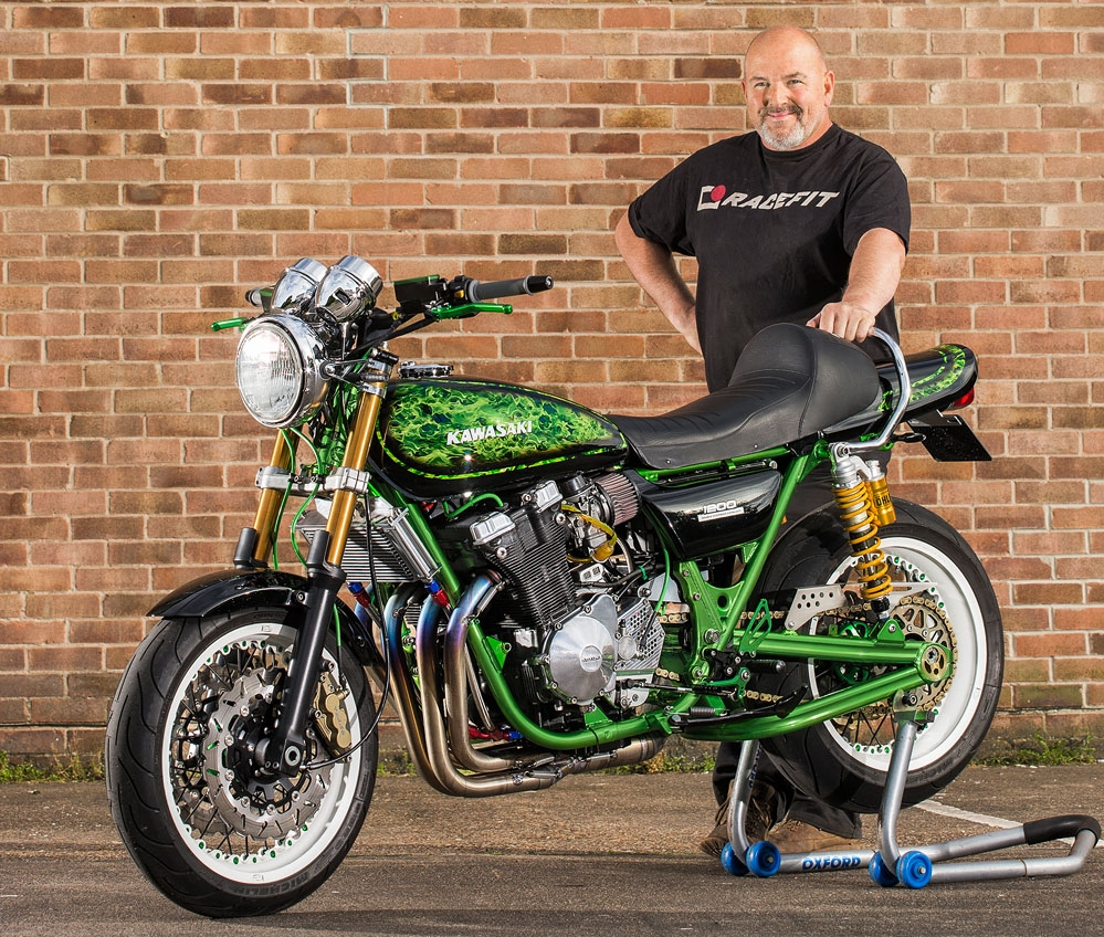 It started life as a knackered and very brown Z900. Now Mickey Thomas's  Kawasaki/Suzuki mash-up is clean and very, very green