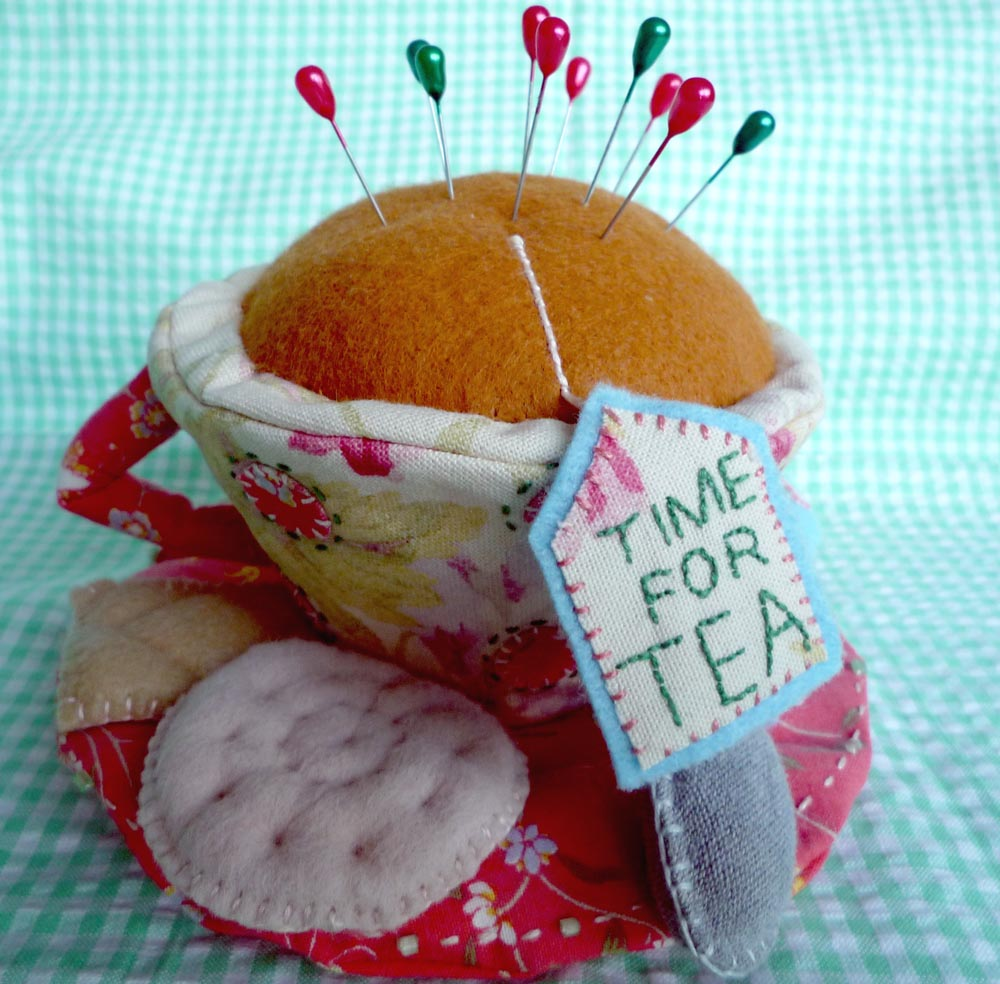 Cup of tea pin cushion made by Sharon Ellis