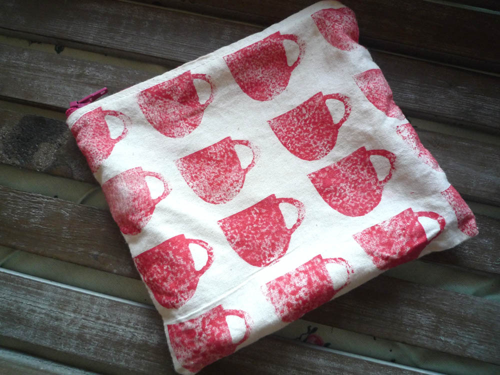 Hand printed fabric purse made by Esther Wheeler