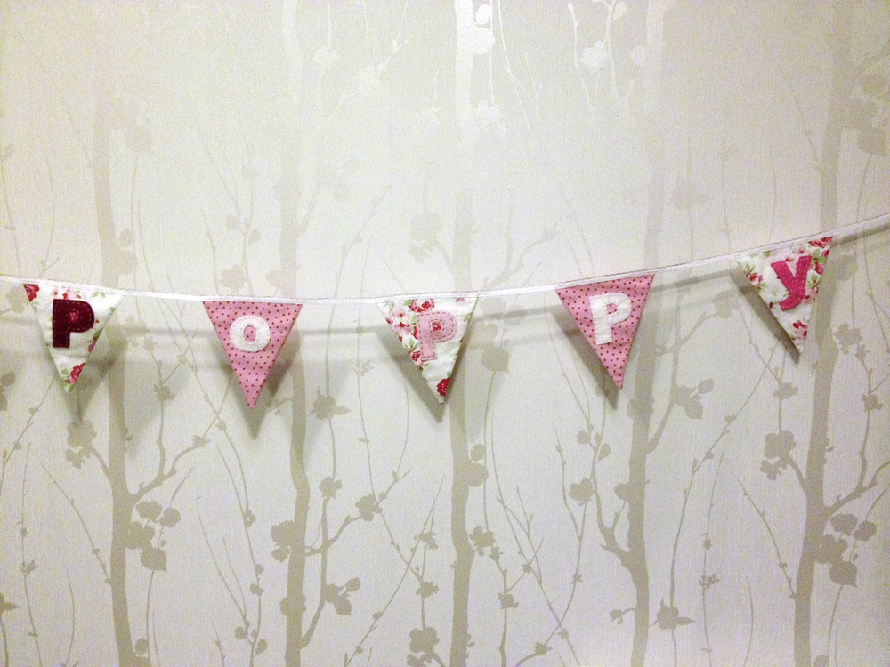 Bunting made by Clare Derry for a little girl called Poppy