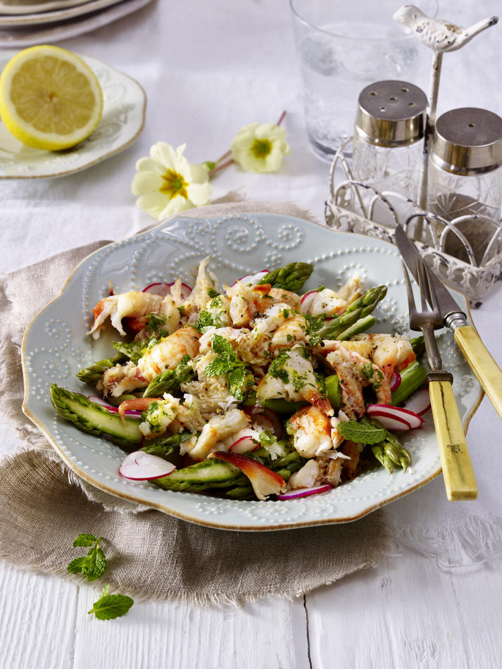 LandScape magazine recipe for crab and asparagus salad Spring 2017