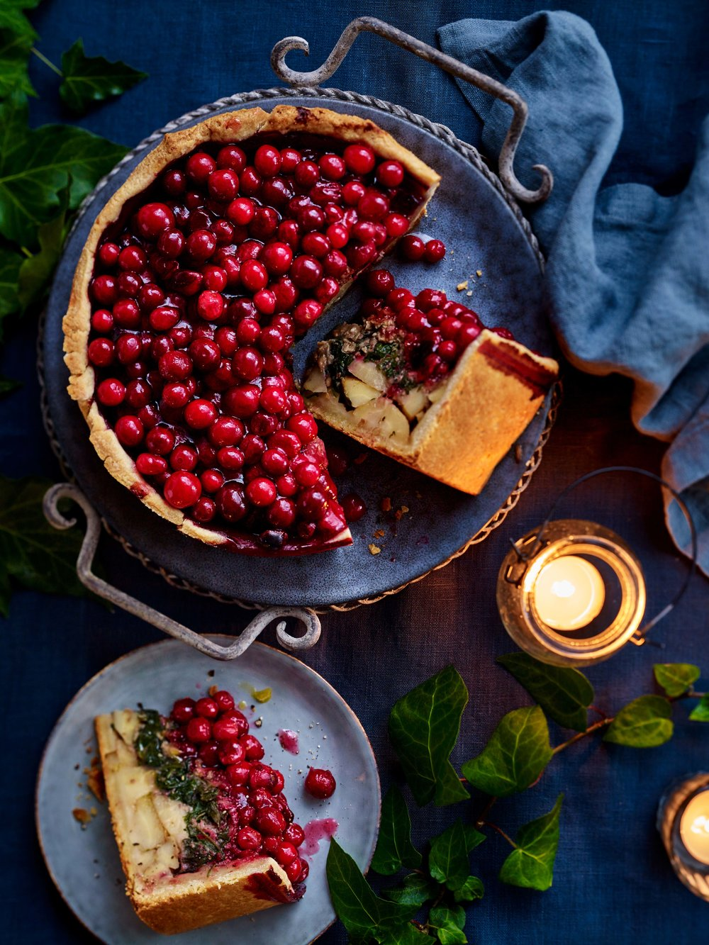 Cranberry-topped vegetable pie, LandScape magazine, Christmas 2017 issue.
