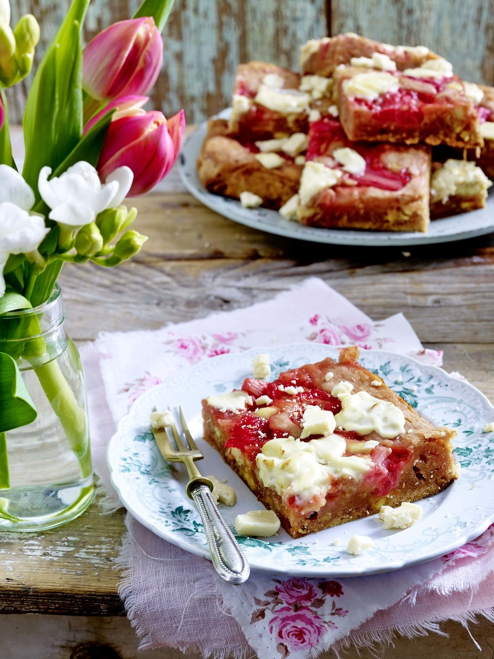 A slice of rhubarb and white chocolate bake, from a recipe in the March 2018 issue of LandScape