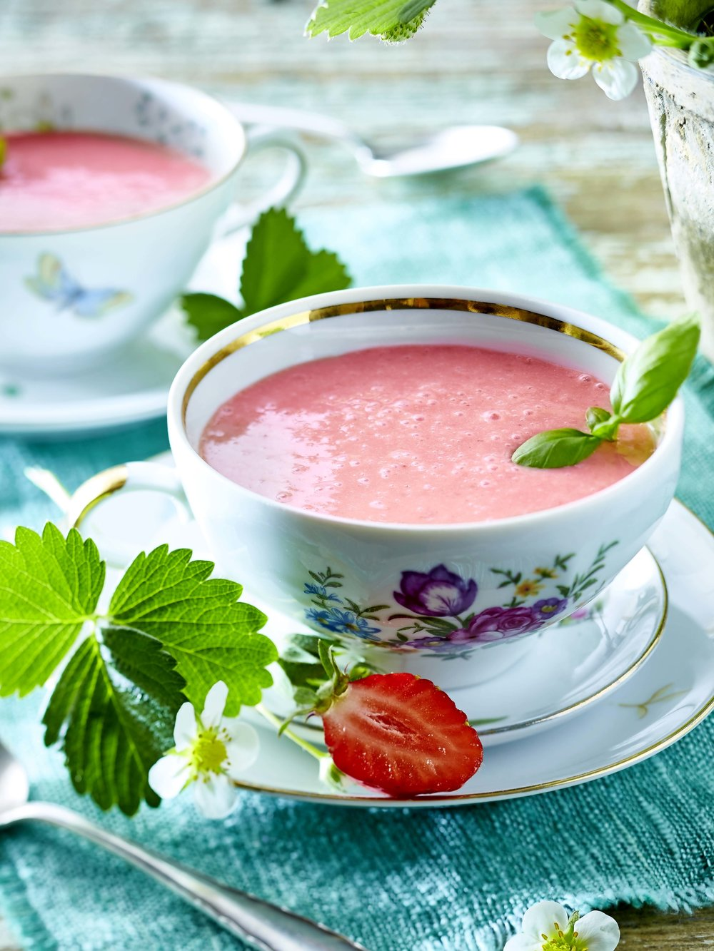 Chilled strawberry soup, a delightfully simple dessert. From a recipe in the July 2018 issue of LandScape