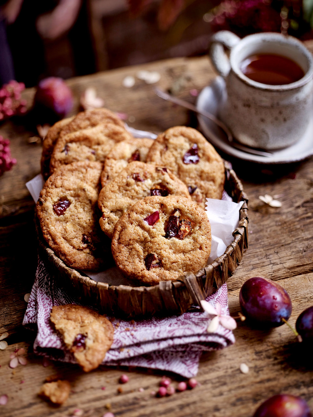 Chewy white chocolate and damson biscuits, perfect with tea. From a recipe in the September 2018 issue of Land Scape .
