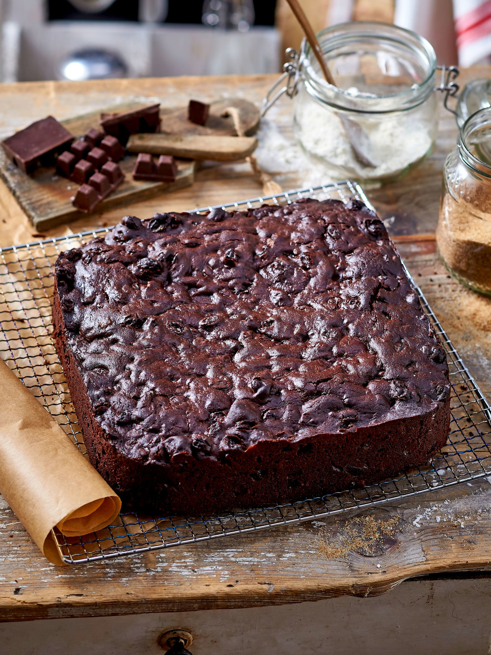 Not quite a traditional Christmas cake – this one is made with chocolate.