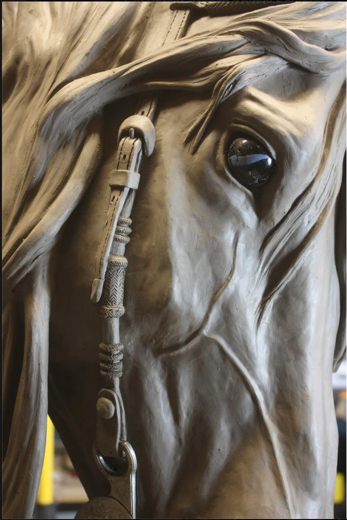 Reining - Latest life-size horse head study by Gill Parker