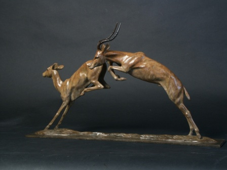 Impalas ;Bronze limited edition sculpture of 9