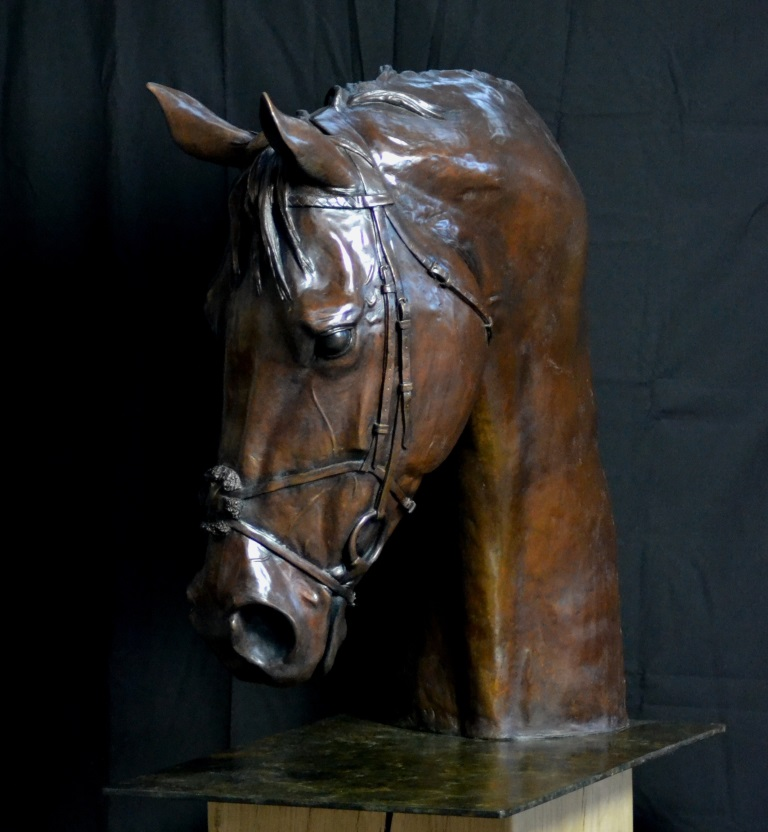 Frankel Portrait. This is a life size portrait of the Great Frankel. A limited edition bronze with a traditional patina.