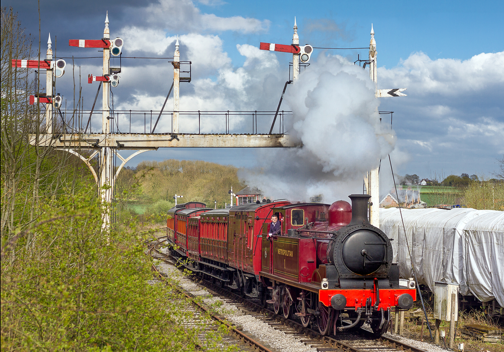 Metropolitan Railway 0-4-4T No. 1 leaves Swanwick Junction during a vintage train day at the Midland Railway - Butterley on May 2. Credit: Alan Weaver