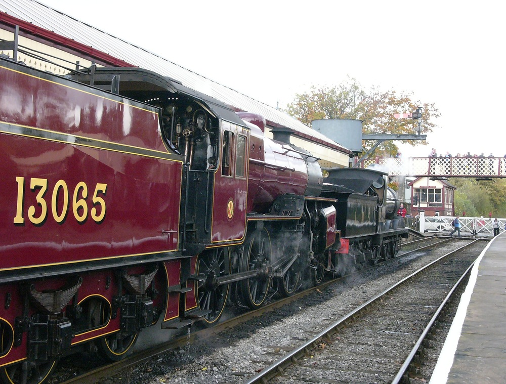 Two stalwarts of the East Lancs fleet, Hughes-Fowler 'Crab' 2-6-0 No. 13065 and L&Y 'A' class 0-6-0 No. 12322, at Ramsbottom on October 18 2014.
