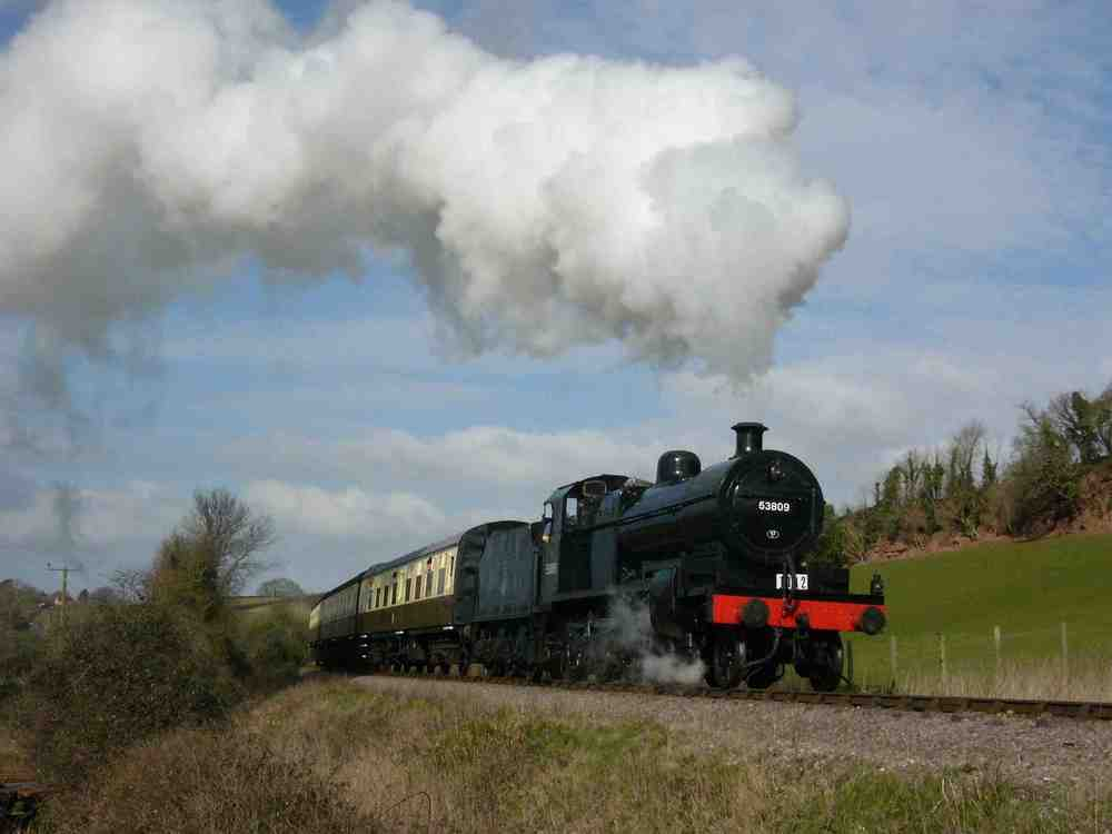 Fifty years to the day since the last scheduled passenger trains on the Somerset & Dorset, '7F' 2-8-0 No. 53809 approaches Sampford Brett Crossing during the West Somerset Railway gala on March 5.