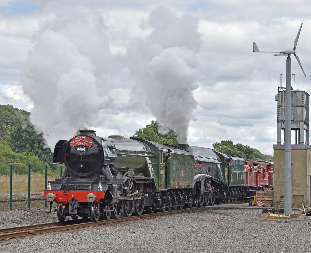 'Pacific' power for a brake van shuttle. Gresley 4-6-2s No. 60103 Flying Scotsman and No. 60009 Union of South Africa pull their train rather short train on the demonstration line at Shildon on July 30. EDDIE BOBROWSKI