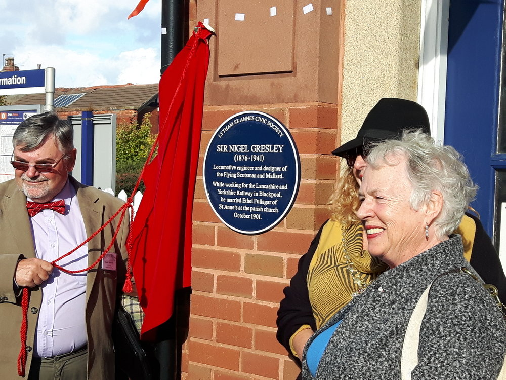 Chairman of the Gresley Society, David McIntosh, unveils the blue plaque at St Anne's station in commemoration of Sir Nigel Gresley on October 17. ANDREW NOBLE