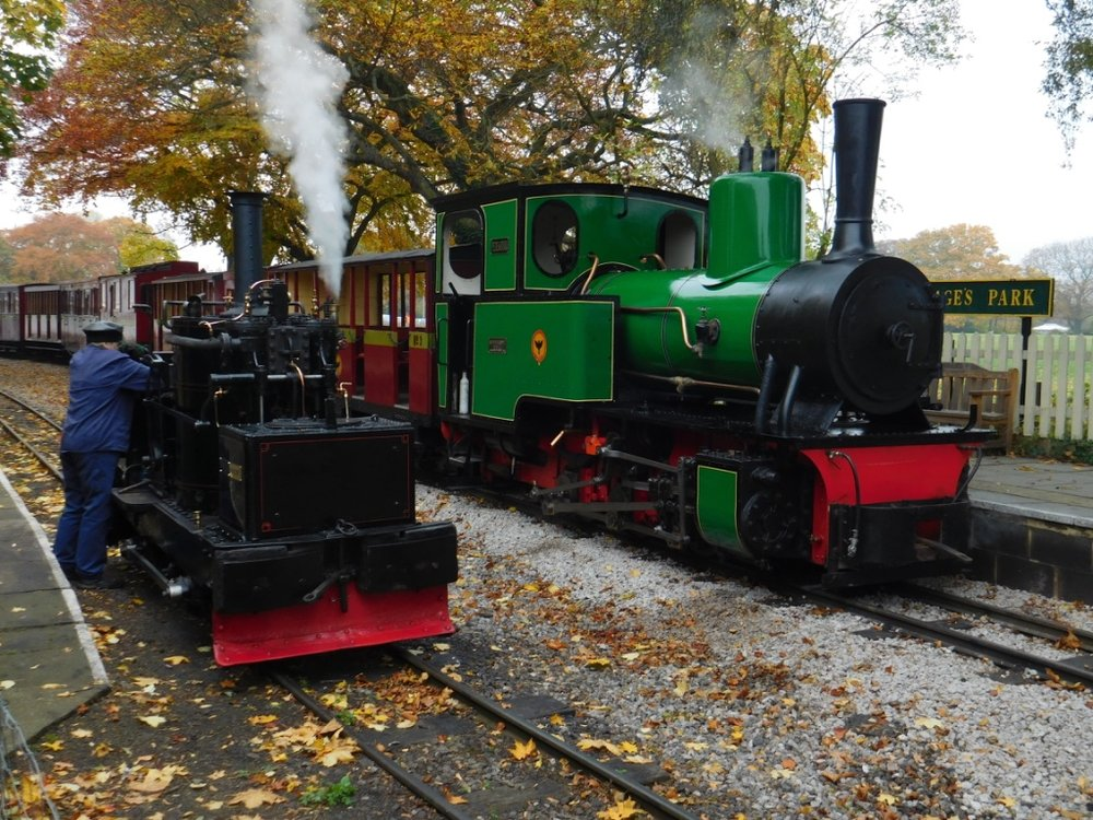 The Leighton Buzzard Railway's largest and smallest locomotives were on display at Page's Park station for the building's official opening on October 29. Standing at the platforms are DeWinton 0-4-0VBT Chaloner and Orenstein & Koppel 0-6-0WT Pedemoura.