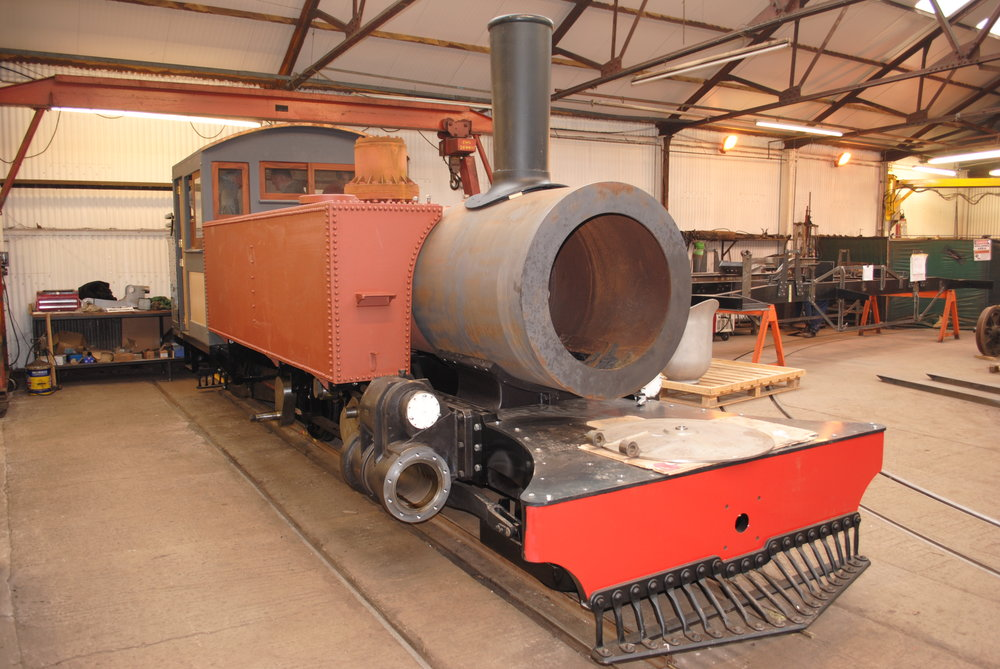It's a shape not seen for over eighty years – L&B Baldwin 2-4-2T No. 762 Lyn takes shape inside Alan Keef Ltd. Both the dome cover (in the background) and smokebox door (on the front running plate) have yet to be fitted. JON PAIN