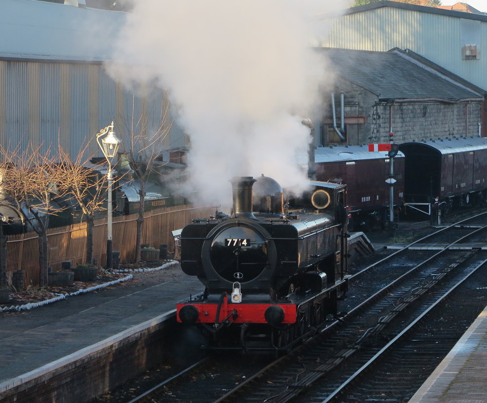 '57XX' 0-6-0PT No. 7714 moves under its own steam for the first time in seven years at Bridgnorth station on the Severn Valley Railway on November 18. SVR