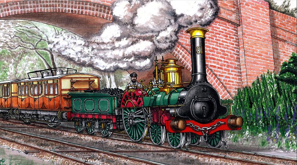 The locomotive the CLT intends to re-create: SER 'Crampton' 4-2-0 No. 81, near Penhurst on a Dover boat train circa 1850. MIKE PEASE
