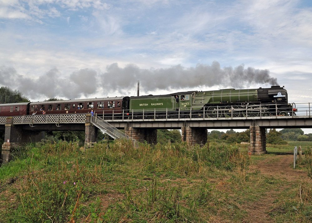 'A1' No. 60163  Tornado  crosses the River Nene with a Peterborough-bound train on a previous visit to the Nene Valley Railway. A1SLT