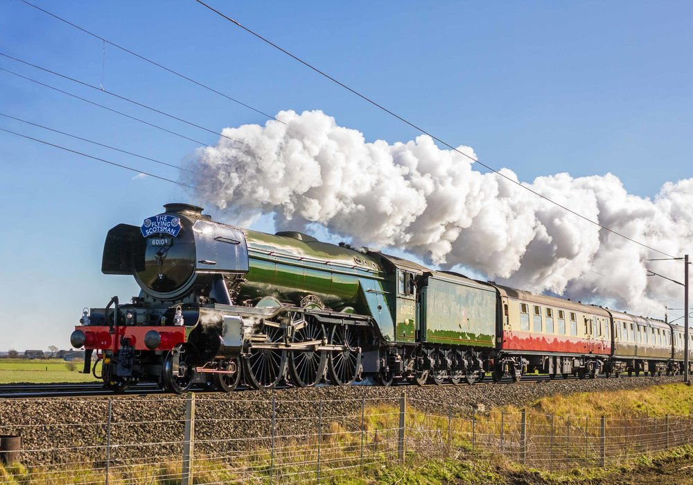Shortly to make history on the East Coast Main Line once again, 'A3' No. 60103 Flying Scotsman passes Claypole on its inaugural run from London King's Cross to York on February 25 2016. ALAN WEAVER