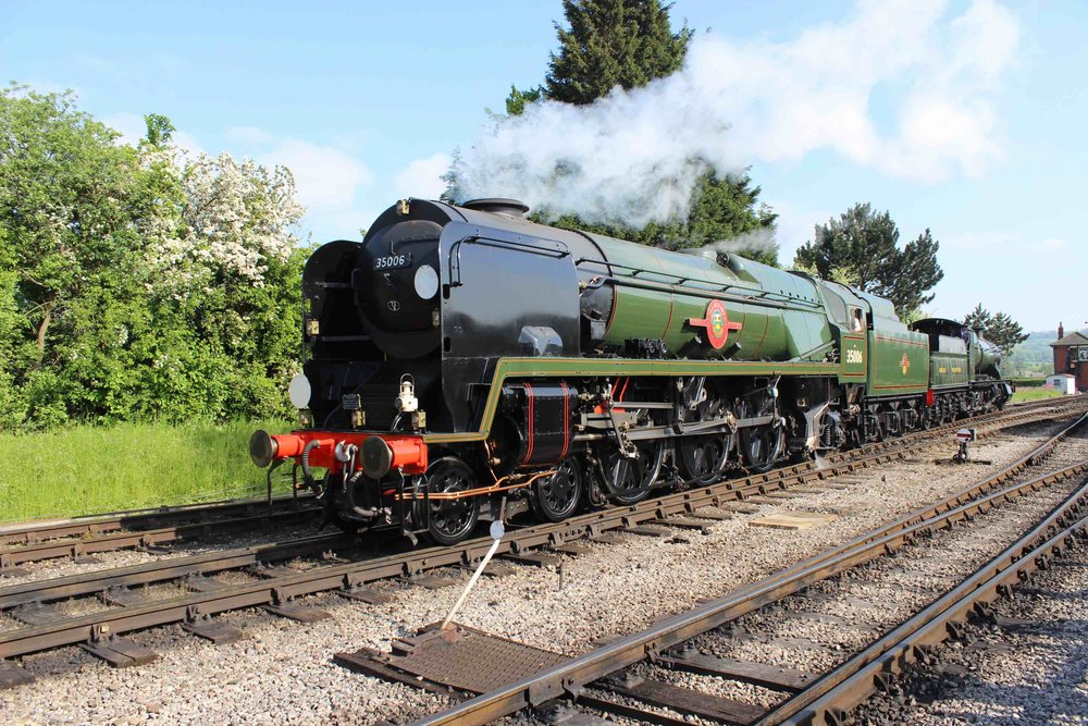 'Merchant Navy' No. 35006  Peninsular & Oriental S. N. Co  will be making its first visit away from its home on the 'GlosWarks' at the Mid-Hants' 'Summer Gala' on July 1/2 and 7-9. It is pictured here making its gala debut at the GWSR's 'Cotswold Festival of Steam' event on May 29 2016. THOMAS BRIGHT/SR