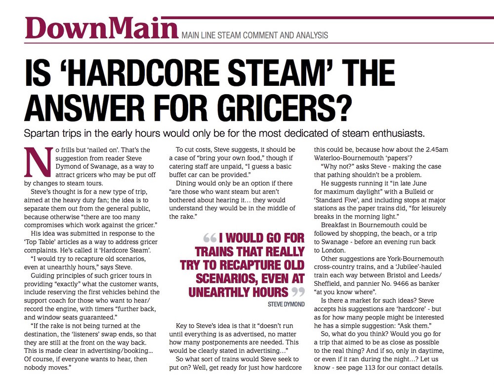 The case for 'hard-core' steam in 'Down Main' SR467. What do you think? SR
