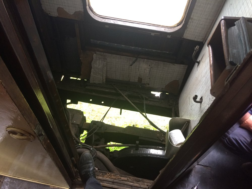 The missing floor of the lavatory through which the child passenger nearly fell on June 22. SDR
