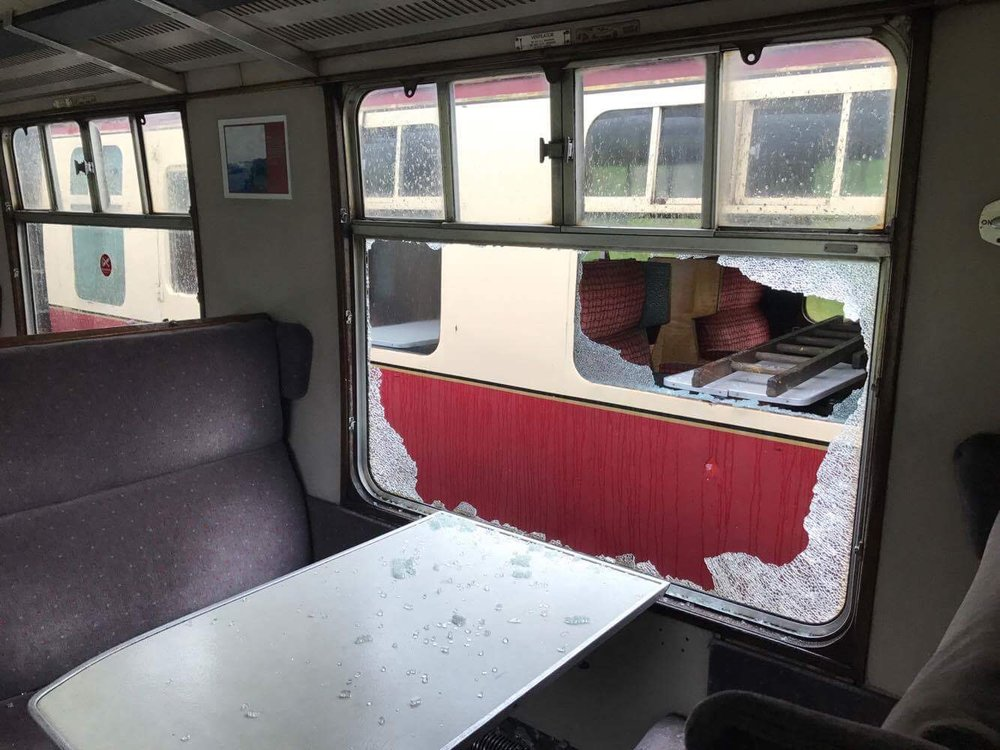 Vandals smashed windows on a number of the East Lancashire Railway's passenger-carrying stock between July 20-25, causing £30,000 worth of damage. ELR