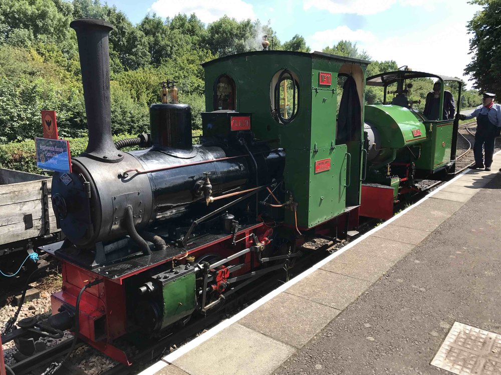 Two engines that will be in action at the Leighton Buzzard Railway's 50th anniversary gala – LBR resident O&K 0-4-0WT P. C. Allen and visiting Bagnall 0-4-0ST Woto. STEVE DOUGHTY