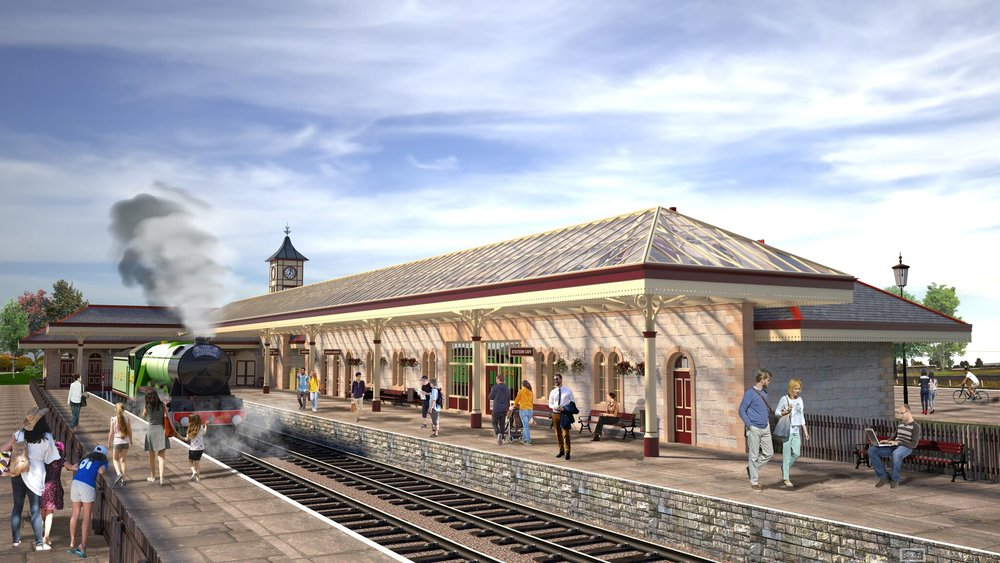 An artist's impression of the completed development of Rawtenstall station, showing the extended station building and 'L' shaped platform canopy. ELR/EQUILIBRIUM ARCHITECTS