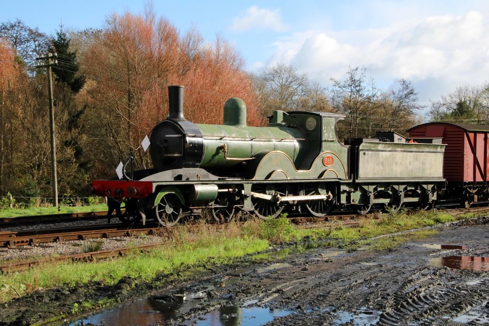 Former National Collection 'T3' No. 563 is shunted at Corfe Castle on November 12, ahead of its move to the Flour Mill. ANDREW P. M. WRIGHT